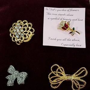 4 Brooches-Decorative Pins